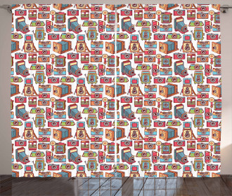 Colorful Film Retro Pattern Curtain