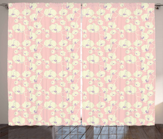 Blooming Nature on Pale Pink Curtain
