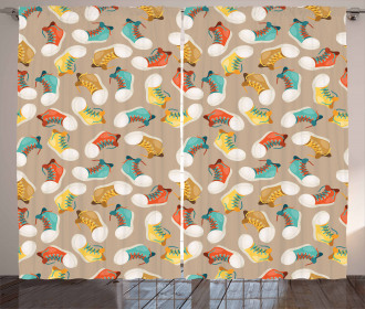 Colorful Sneakers Pattern Curtain
