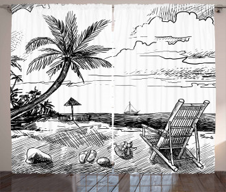 Beach Sketch with Chair Tree Curtain