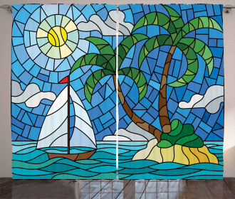 Stained Glass Mosaic Style Curtain