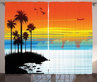 Sunset Sky with Seagulls Curtain