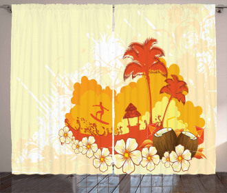 Coconut Cocktails and Palms Curtain