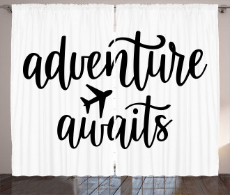 Travel Typography Curtain