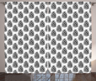Monochrome Conifer Theme Curtain