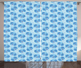 Soft Blue Orchid Blossoms Curtain