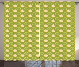 Sliced Fresh Fruits Pattern Curtain