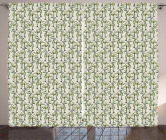 Ornamental Botanical Theme Curtain