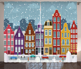 Dutch Town in the Winter Curtain