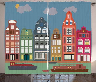 European Houses and Ships Curtain