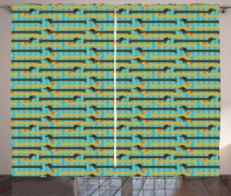 Blue Backdrop Dachshund Dogs Curtain