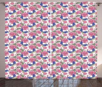Butterflies Pink Flowers Curtain