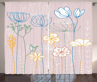 Flowers with Colorful Stems Curtain