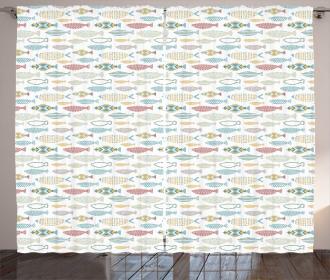 Geometric Style Sea Creatures Curtain