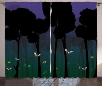 Woodland Night Cartoon Kids Curtain