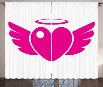 Heart with Wings Eros Romantic Curtain