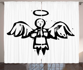 Sketch Style Christmas Angel Curtain