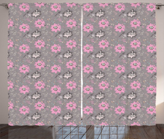 Abstract Blooming Flower Curtain