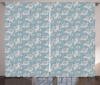 Retro Drawn Blossoms on Blue Curtain