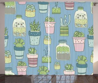 Houseplants Succulents Curtain