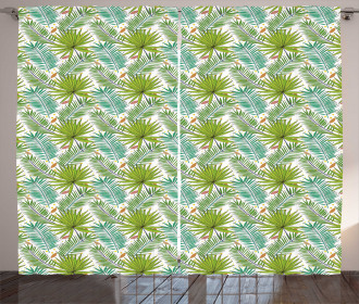 Fern Leaves Sketch Style Curtain