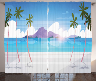 Summer Seaside with Palms Curtain
