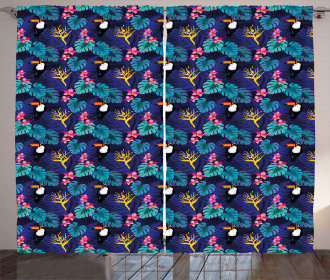 Tropical Island Nature Toucan Curtain