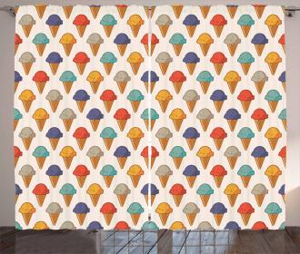 Tasty Ice Cream Cones Curtain