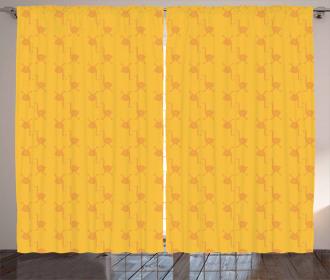 Retro Cute Orange Birds Curtain