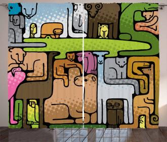 Animal Puzzle Modern Design Curtain