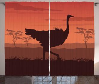 Sunset Silhouette Wild Bird Curtain