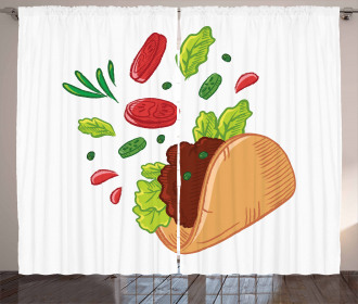 Mexican Tortilla with Veggies Curtain