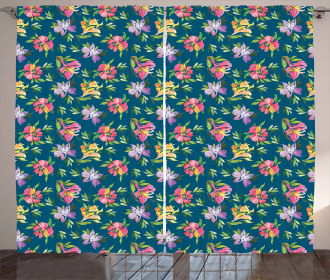 Watercolor Artistic Flowers Curtain