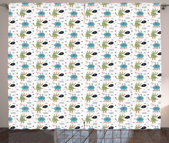 Funky Monsters and Creatures Curtain