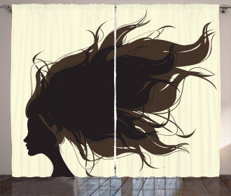 Fuzzy Hair Silhouette Curtain