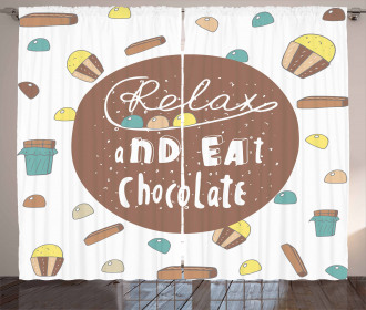 Relax and Eat Chocolate Text Curtain