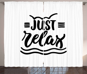 Calligraphic Just Relax Text Curtain