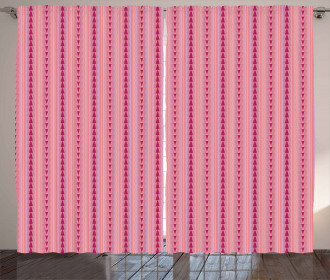 Pinkish Triangles Figures Curtain