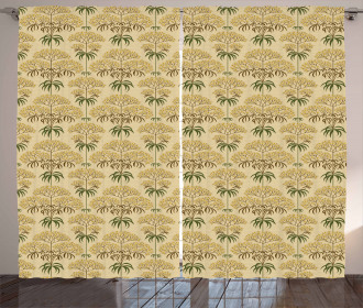 Retro Flowers and Leaves Curtain
