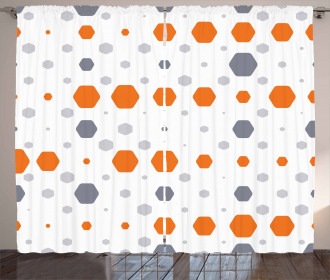 Abstract Hexagons Pattern Curtain