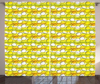 Dotted Fresh Citrus Fruits Curtain