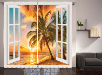 Sea Ocean Palms Scenery Curtain