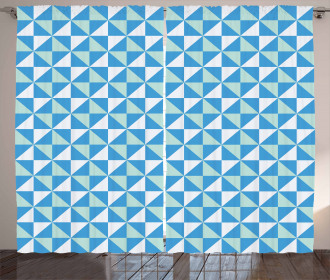 Grid Tile Triangle Shapes Curtain