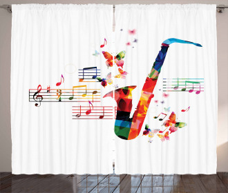 Saxophone with Butterflies Curtain