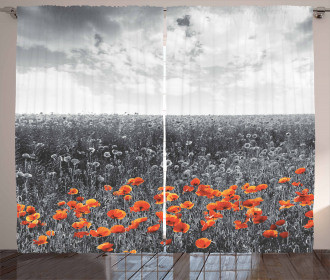 Flower Field Greyscale Design Curtain