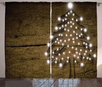 Bokeh Ornaments on Tree Curtain
