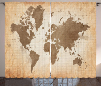 Vintage Earth Continents Curtain