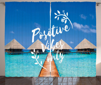 Positive Vibes Only Message Curtain