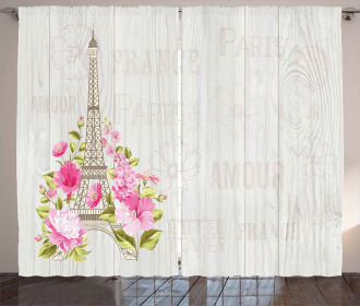 Spring Blossoming Flowers Curtain