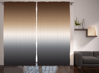 Brown and Grey Pattern Curtain